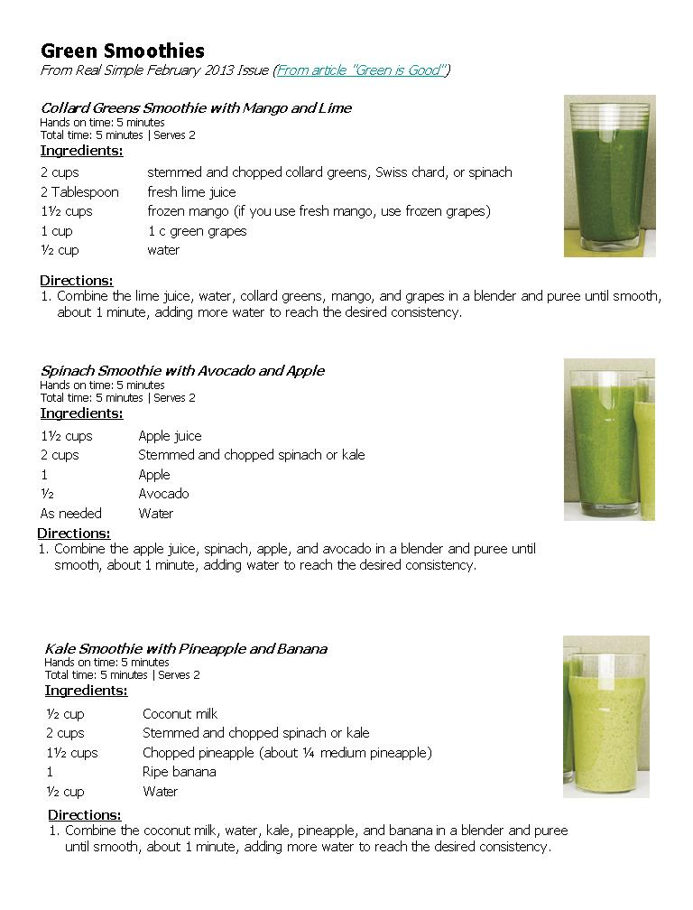 Green Smoothies – Real Simple | How our Garden Grows…